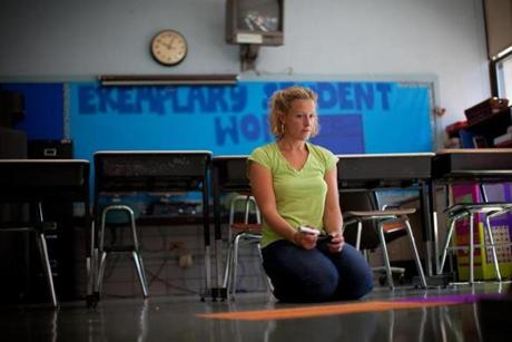 Jessica Wood prepared her classroom in Lawrence.
