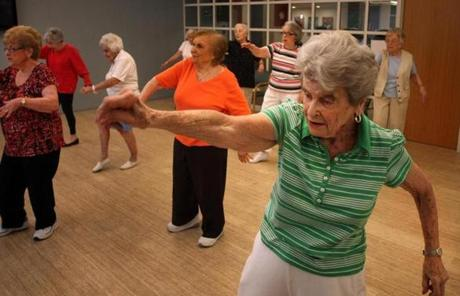 Midge Spear, 91, worked out in a class at Orchard Cove.