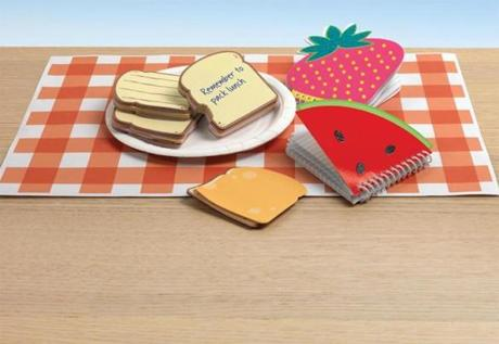 Watermelon and strawberry mini notebooks and ham and cheese adhesive notes, $1-$1.99 at Staples store locations.