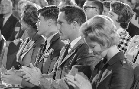 Mitt (left) and Scott Romney watched their father exhort moderates at the 1964 Republican National Convention.