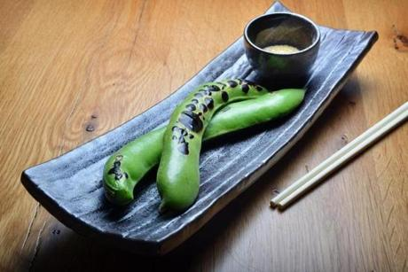 Sora Mame, or fava beans in a pod with yuzu salt.