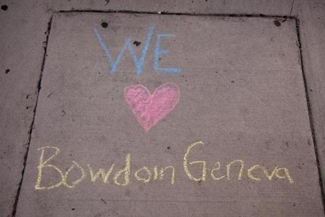 A hopeful note on the Bowdoin Street sidewalk.