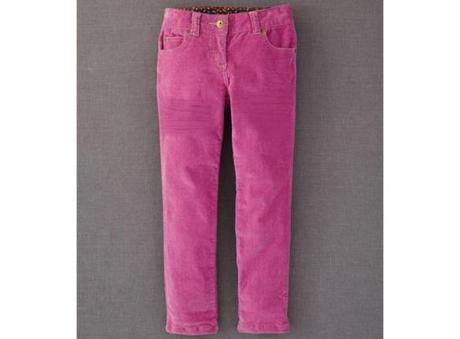 Mini Boden slim fit corduroys in Violet and Beetroot, $30 each at www.bodenusa.com.