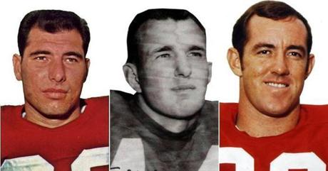 Tony Romeo (1962-67), Thomas Stephens (1960-64), and Bob Windsor (1972-75), left to right, were among the Patriots' first tight ends.