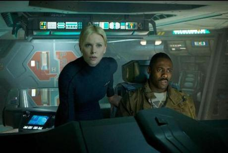 "Charlize Theron, left, and Idris Elba in a scene from ""Prometheus."""