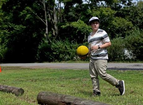Jordan Koronkowski, 13, of Santa Cruz, California, played kickball.