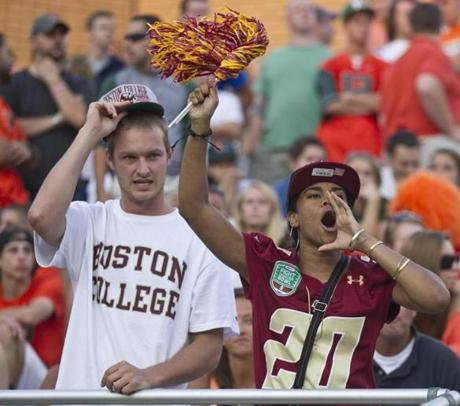 8/31/12 Chestnut Hill, MA Boston College fans cheering on their team during 4th quarter action against Miami at Alumni Stadium on August 31, 2012. (Matthew J. Lee/Globe Staff) slug: face section: metro reporter: