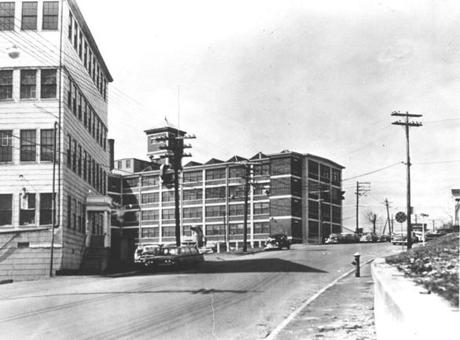 AApril 6, 1960:  A 1960 picture of the Pearl Street street shoe factory of Slater & Morrill in South Braintree, where the paymaster, Frederick A. Parmenter, 34 and and his guard, Alessandro Berardelli, 44, were slain for $15,766.51 representing the weekly payroll of the factory. The holdup, during the afternoon of April 15, 1920 began the sensational Sacco and Vanzetti case.