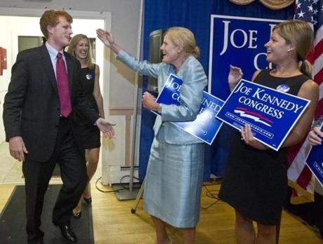 Joe Kennedy III and his then-fiance Lauren Birchfield was greeted at the door by his mother, Sheila Kennedy and sister-in-law Kate Kennedy during an election night party at the Taunton Elks Lodge. August 6, 2012.