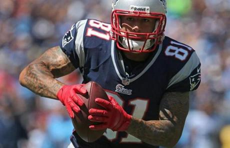 Aaron Hernandez ran into th e end zone for the first Patriots touchdown in the first quarter.