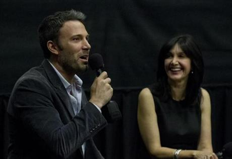 Boston, MA 9/9/12 Ben Affleck (cq) with Joyce Kulhawik (cq) during a Q & A after a screening of his latest film,