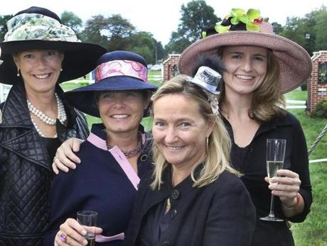9-9-2012 Hamilton, Mass. Third Annnual Boston Equestrian Classic held at Myopia Hunt Club, L. to R. are Meg Erickson of Prides Crossing, Lisa Lillelund of Beverly Farms, Kim Begien of Wenham and Heidi McKeon of Essex. Globe photo by Bill Brett