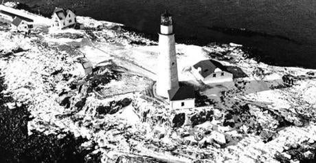 January 10, 1968.  Boston Light appears frozen solid following four days of bitter record-setting cold, snow and gale force winds in New England.