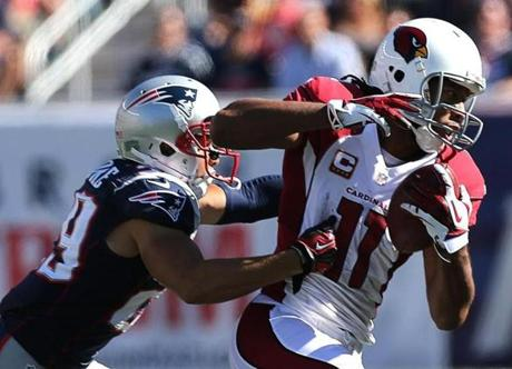 Larry Fitzgerald pulled in a pass, but the play was called back due to a penalty during the second quarter.