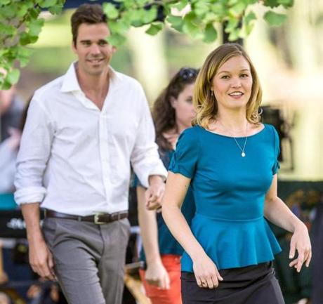 09/17/2012 BOSTON, MA Actress Julia Stiles (cq) (right) was spotted filming in the Boston Public Garden (cq) in Boston. Local actor David Walton (cq) is believed to be the man on her left. (Aram Boghosian for The Boston Globe)