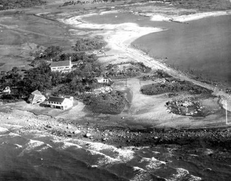 September 23, 1938: This was all that remained of the Beverly Yacht Club in Marion, Mass. on September 22nd after 100-mile-an-hour hurricane winds swept over it. The flagpole still stands, but beyond it only scattered fragments of the clubhouse foundation remain.