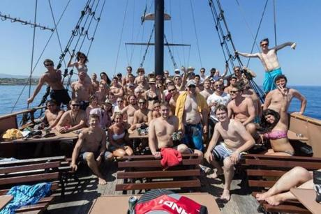 Sixty-four ZeroTurnaround employees took a working vacation to Crete that included a cruise on a vessel decked out like a pirate ship.