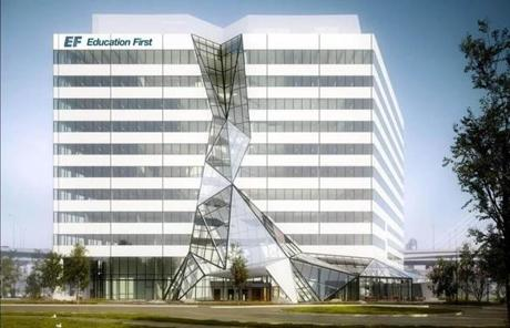 EF Education First's new headquarters  in Cambridge's NorthPoint development will feature a towering glass waterfall.