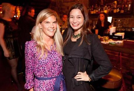 9/25/12 Boston, MA -- From left, Elizabeth Stanek and Joanna Berliner, both of Beacon Hill, at the opening celebration for the Granary Tavern in Boston, September 25, 2012. Erik Jacobs for the Boston Globe