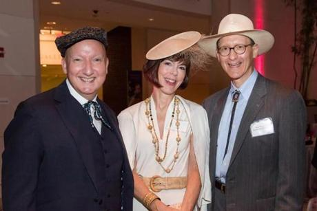 Stephen Jones, Jane Bradbury and PEM Board of Trustees President, Rob Shapiro; Hats: An Anthology by Stephen Jones; EIMA and Corporate Partners Reception, 9/7/12; Peabody Essex Museum
