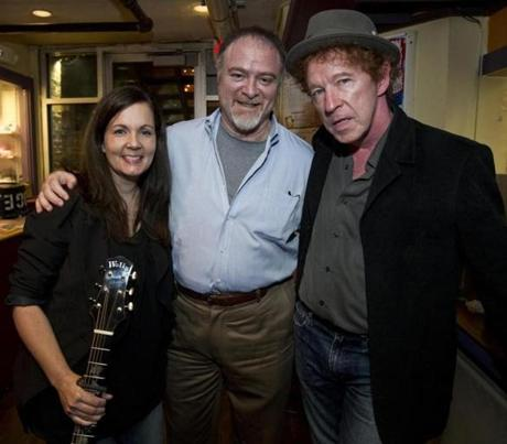 Cambridge MA 9/30/12 (l to r) Lori McKenna (cq), Dr. Steven Zeitels (cq) and Dennis Brennan (cq) in the lobby during a benefit for the Voice Health Institute at Club Passim on Sunday September 30, 2012. (Matthew J. Lee/Globe staff) slug: 02namesvoice Section: living reporter: Meredith Goldstein