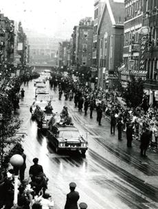 October 1, 1979:  Pope John Paul II's motorcade rides through the North End where almost 60,000 people lined Hanover Street. Confetti fell amid choruses of