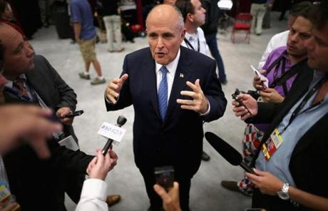 Former New York City mayor Rudy Giuliani was interviewed before the debate.