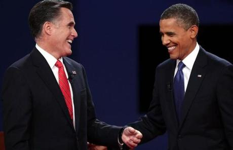 President Obama and Mitt Romney smiled at the end of the debate.