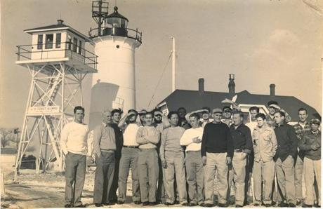 A 1952 photo of SS Pendleton survivors in front of the Chatham Lighthouse the day after their rescue. Plans for a movie about the rescue by Walt Disney Pictures are expected to move ahead next year.