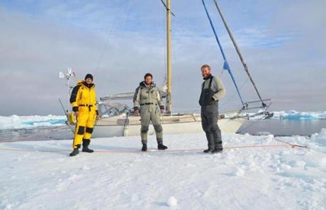 The crew's 31-foot fiberglass boat made it through the strait when the pack ice shifted during a 36-hour window.