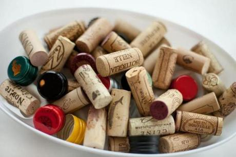 Wine corks and bottle caps from the 50 wines tasted.