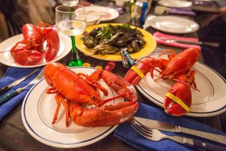 The lobsters at Nautical Thanksgiving were steamed with seaweed.