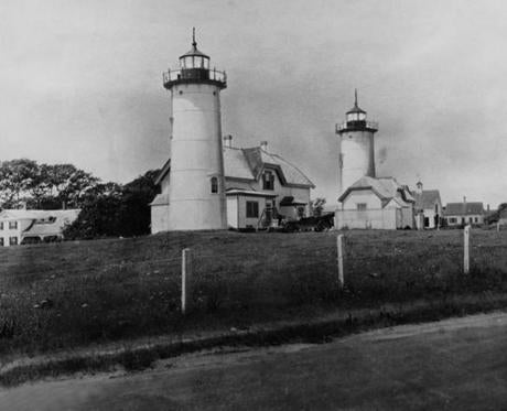 Twin light towers  in a 1929 photo. One of the towers was moved to Easton in 1923 after the advent of rotating lights made twin lights unnecessary.