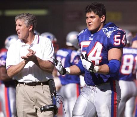 Carroll's teams included a number of players who would contribute to the Patriots' Super Bowl wins under Bill Belichick. Tedy Bruschi, right, played in all three of Carroll's years with the Patriots.