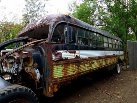 A haunted school bus in the woods at Nightmare New England.