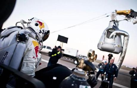 Baumgartner stepped out of his trailer and toward his capsule.