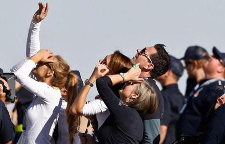 Baumgartner's mother, middle, watched with other family members as his capsule lifted off.
