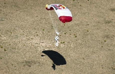 Organizers said the descent lasted just over nine minutes, about half of it in free fall.