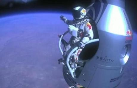 Felix Baumgartner prepared to jump.