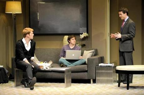 "Grant MacDermott, Michael Goldsmith, and Ryan King in the Huntington Theatre Company's American premiere production of Christopher Shinn's ""Now or Late"