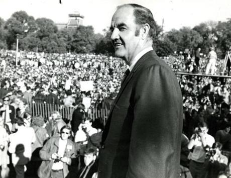 In October 1969, Senator George McGovern prepared to address the crowd at the Vietnam Peace Moratorium on Boston Common.