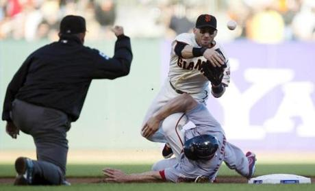 Marco Scutaro throws to first as he is taken out by a controversial slide by Cardinals' Matt Holliday. Some said the slide was late. Scutaro left the game in the 5th, though X-Rays and an MRI were negative and Scutaro is predicted to play in Game 3.
