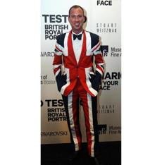 Robert Michael of Boston was dressed in a British themed suit.