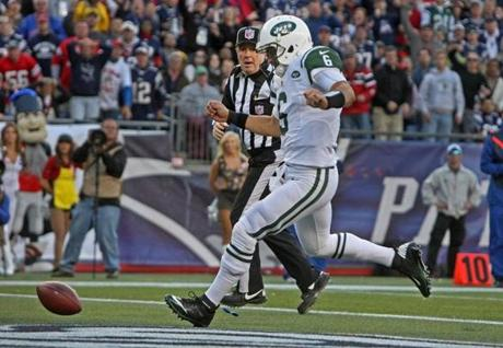 The Jets put 2 more points on the board for the Patriots in the second quarter when Mark Sanchez kicked this loose ball out of the back of the end zone, which triggered a safety and a 16-7 lead for New England.