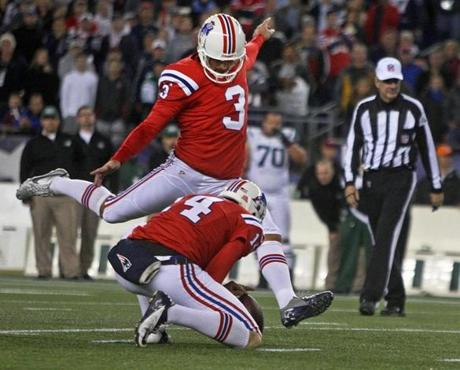 Stephen Gostkowski, who kicked an overtime-forcing field goal at the end of regulation, then kicked this 48-yard field goal in overtime.