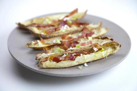 Watertown, MA - 10/24/2012 - Sheryl Julian's house - These are potato skins with parmesean and bacon. Topic: 14holiday. Story by Sheryl Julian/Globe Staff. Styling by Sheryl Julian and Valerie Ryan. Photo by Dina Rudick/Globe Staff