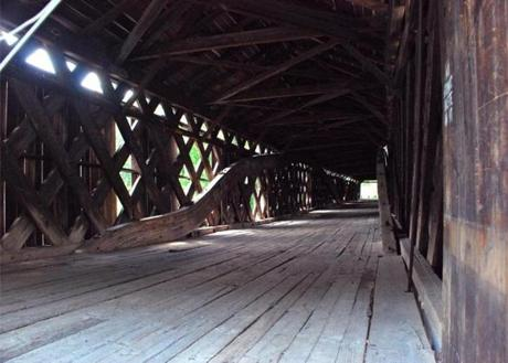 cott Covered Bridge, built in 1870 and the longest single span covered bridge in Vermont, Townshend, Vermont.