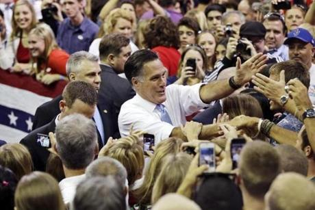 Mitt Romney greeted a crowd at the Pensacola Civic Center in Florida.