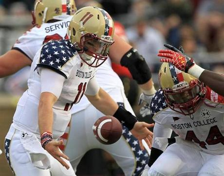 Eagles quarterback Chase Rettig (11) recovered his own fumble on the game-winning fourth-quarter drive against Maryland at Boston College.