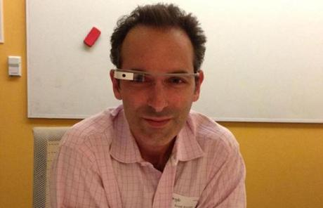 Scott Kirsner got to test drive a Google Glass, a digital display mounted on an eyeglass frame.